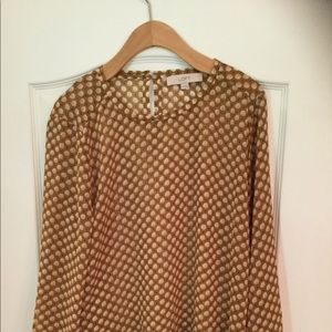 Loft 3/4 blouse camel with shells